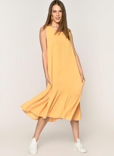 Loves You Eteği Piliseli Kolsuz Krinkıl Elbise Oranj